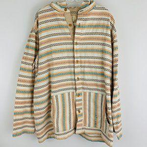 TA Heavy Cotton Hooded Button Down Shirt L